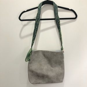Grey Leather Tote Bag with Silk Scarf Strap